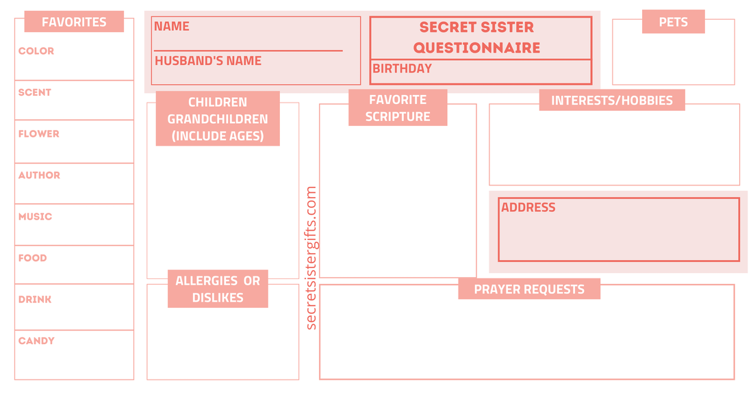 Printable Secret Sister Survey