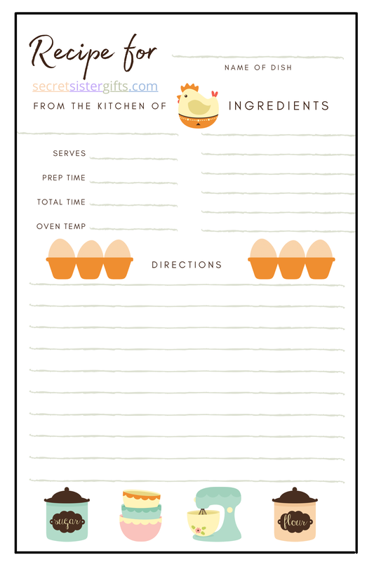 Women's Group Recipe Exchange Free Printable Recipe Card